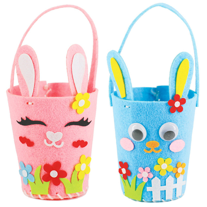 2PCS/set Kindergarten 3D DIY Rabbit Easter Bag Handbag Storage Basket Pen Holder Toys For Baby Kids Educational Art Crafts Toy