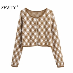 Zevity New Women Fashion O Neck Geometric Print Short Knitting Sweater Lady Long Sleeve Breasted Chic Casual Cardigans Tops S455