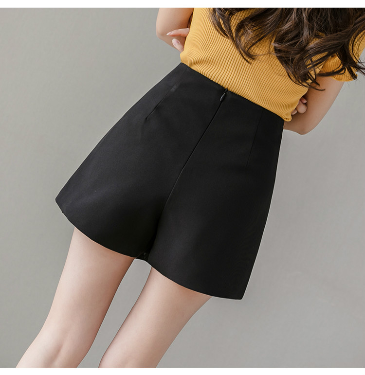 Black Apricot High Waist Irregular Zipper Shorts 4