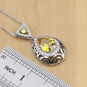 Image 3 - Drop 925 Sterling Silver Jewelry Yellow Cubic zirconia Jewelry Sets For Women Earrings Pendant Rings Bracelet Necklace Set