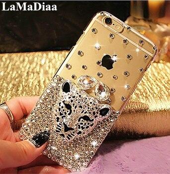 Fundas de teléfono de lujo con cabeza de leopardo y Tigre brillantes y diamantes de imitación para Xiaomi mi 8 9 Lite SE 5X 6X A1 A2 10 Pro MAX 2 3