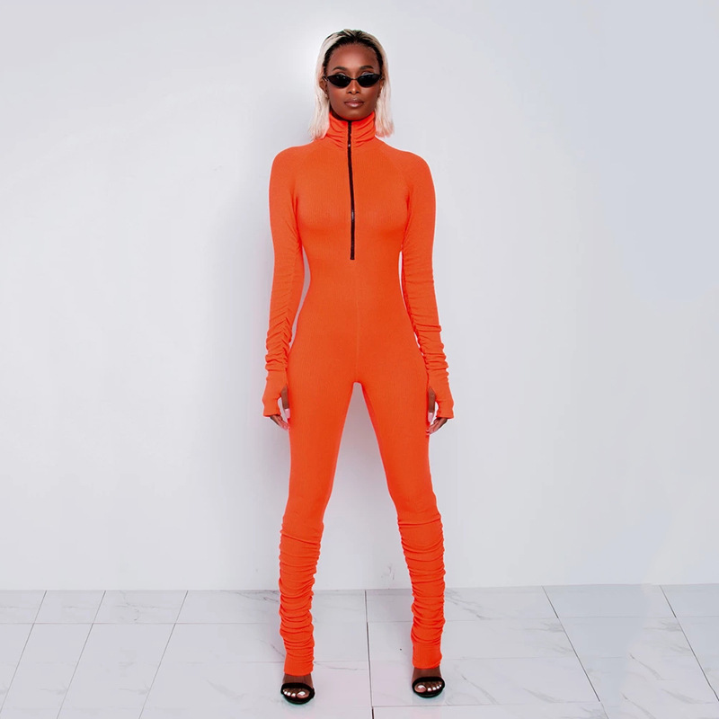 NewAsia Zipper V Neck Bodycon Jumpsuit Women Solid Long Sleeve Sexy Jumpsuits Turtleneck Fitness Sporty Rompers Clubwear Outfits