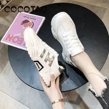 Sports Shoes Women Summer Breathable 2019 New Ins Joker Thick-soled Torre Casual White Shoes26