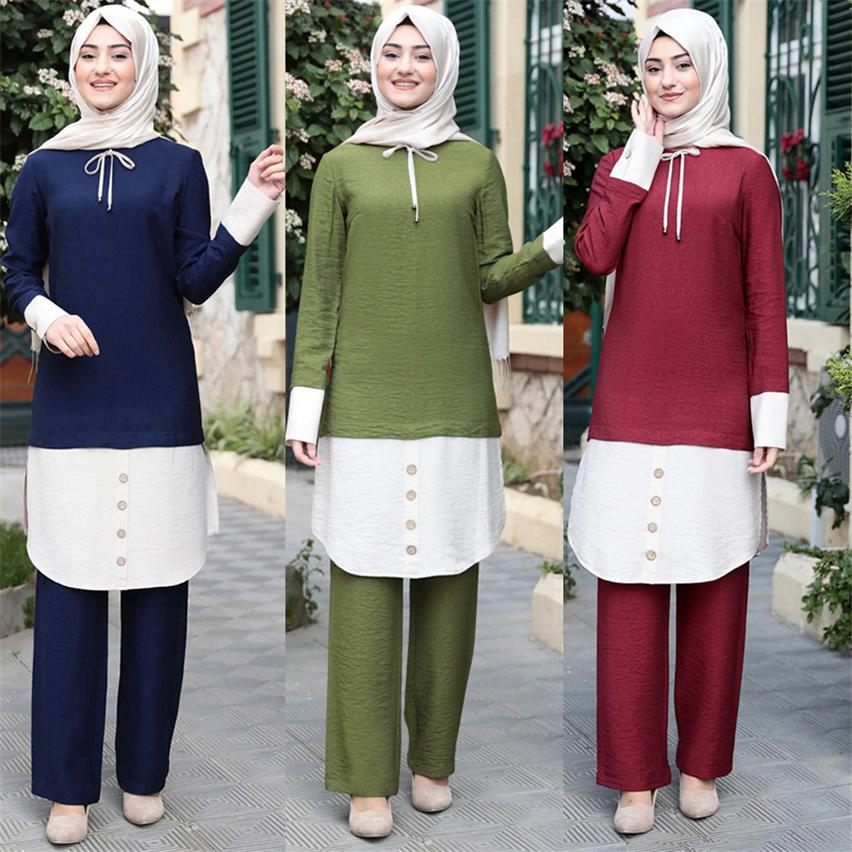 Muslim Women's Dress Set 2021 Dubai Abaya Malay Turkey Fashion Two Pieces Suit Set Long Sleeve Top Long Pants Kaftan Clothing