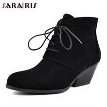 SARAIRIS New Plus Size 34-48 Elegant Flock Booties Brand Design Med Chunky Heels Ankle Boots Women 2019 Winter Shoes Woman