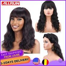 ALLRUN-pelucas de cabello humano para mujeres negras, cabello humano con flequillo frontal ajustable, malayo, ola de mar, no Remy, totalmente hecha a máquina