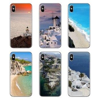 Para LG G3 G4 Mini G5 G6 G7 Q6 Q7 Q8 Q9 V10 V20 V30 X Power 2 3 K10 K4 K8 2017 suave transparente cubre casos Grecia mar desde Santorini