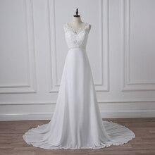 ADLN 2017 Barato Com Decote Em V Branco/Marfim Vestidos de Casamento Zipper Voltar Vestidos de Noiva Plus Size Vestido De Noiva Real Modelo Vestido de noiva