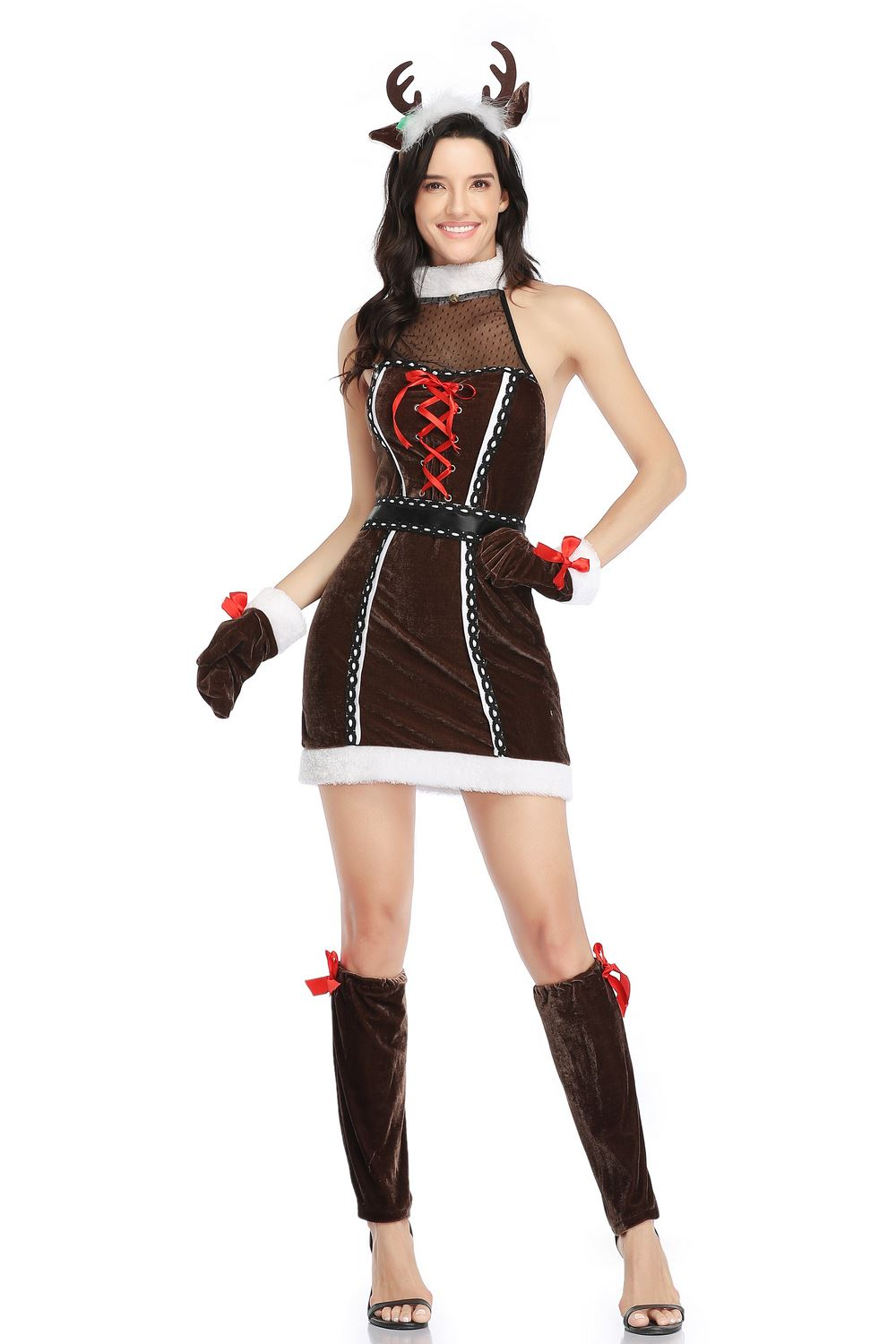 <font><b>Sexy</b></font> Xmas Santa <font><b>Costume</b></font> Womens Ladies Adult Deer <font><b>Christmas</b></font> Fancy Dress Helper <font><b>Outfit</b></font> M-XL SM1937 image