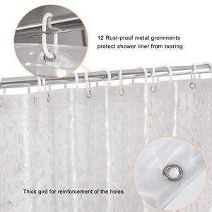 Image 4 - UFRIDAY 防水シャワーカーテン PEVA 半透明浴室 180x180cm クリアウォーターカーテンマグネット