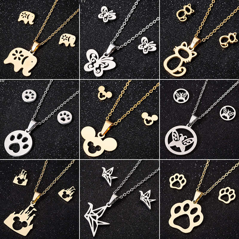 Oly2u Stainless Steel Mickey Necklace Women Jewelry Sets Bijoux Animal Butterfly Necklaces Pendants Cute Earrings Kids Gifts