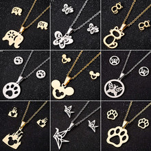 Oly2u Stainless Steel Mickey Necklace Women Jewelry Sets Bijoux Animal Butterfly Necklaces Pendants Cute Earrings Kids Gifts(China)