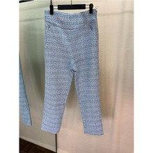 2019 Otoño e Invierno nueva ropa mujer azul casual Pantalones de mujer con cremallera lateral