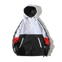 OLOME Mens Hooded Jackets New Patchwork Color Block Pullover Jacket Fashion Tracksuit Coat Man Hip Hop Streetwear Men