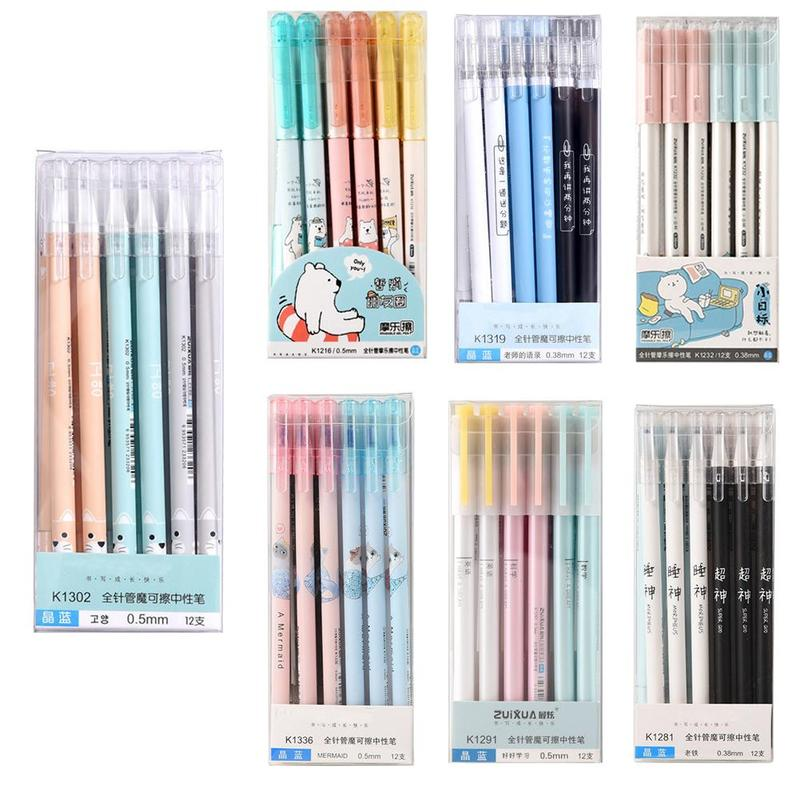 1pc 0.5/0.38mm Gel Pen Needle Crystal Blue Erasable Pen Grinding Easy To Wipe The Gel Pen Material Escolar Pens For School