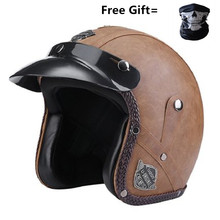 free gift goggle Black leather DOT Approved Adult Safety 3/4 Open Face Crash Helmet for Scooter Cruiser (M)