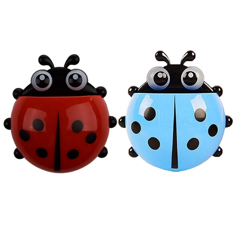 2 Pcs Convenient Bathroom Toothbrush Stuff Ladybug Wall Suction Holder, Blue & Red image
