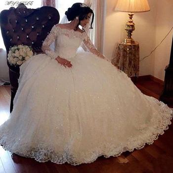 2021 koronkowe suknie ślubne z długim rękawem suknia ślubna tiul Plus rozmiar Off Shoulder Bride suknie ślubne ślubne suknie ślubne tanie i dobre opinie MYYBLE Dekolt w łódkę Pełne Z elementami naszywanymi Tren zamiatający CN (pochodzenie) Zwisające do podłogi Z wiązaniem