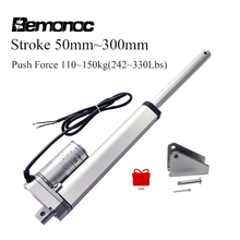 Bemnooc DC 12V Electric Motor Linear Actuator 1100&1500N 50-300mm Stroke 5&13mm/s Speed Linear Motor Putter For Medical Devices 50mm linear actuator 12v 48mm s 250n electric drive pusher motor for window dc electric putter or control telescopic lift