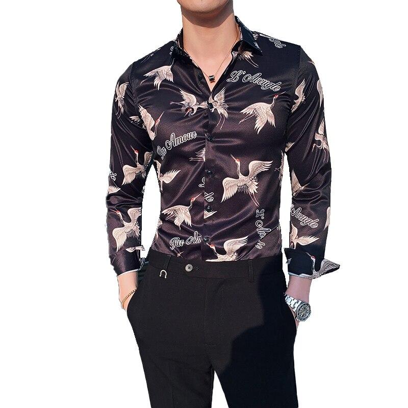 2019 New Fashion Printing Boutique Mens Casual Long-sleeved Shirt European And American Fashion Brand Designer Men Brand Shirts