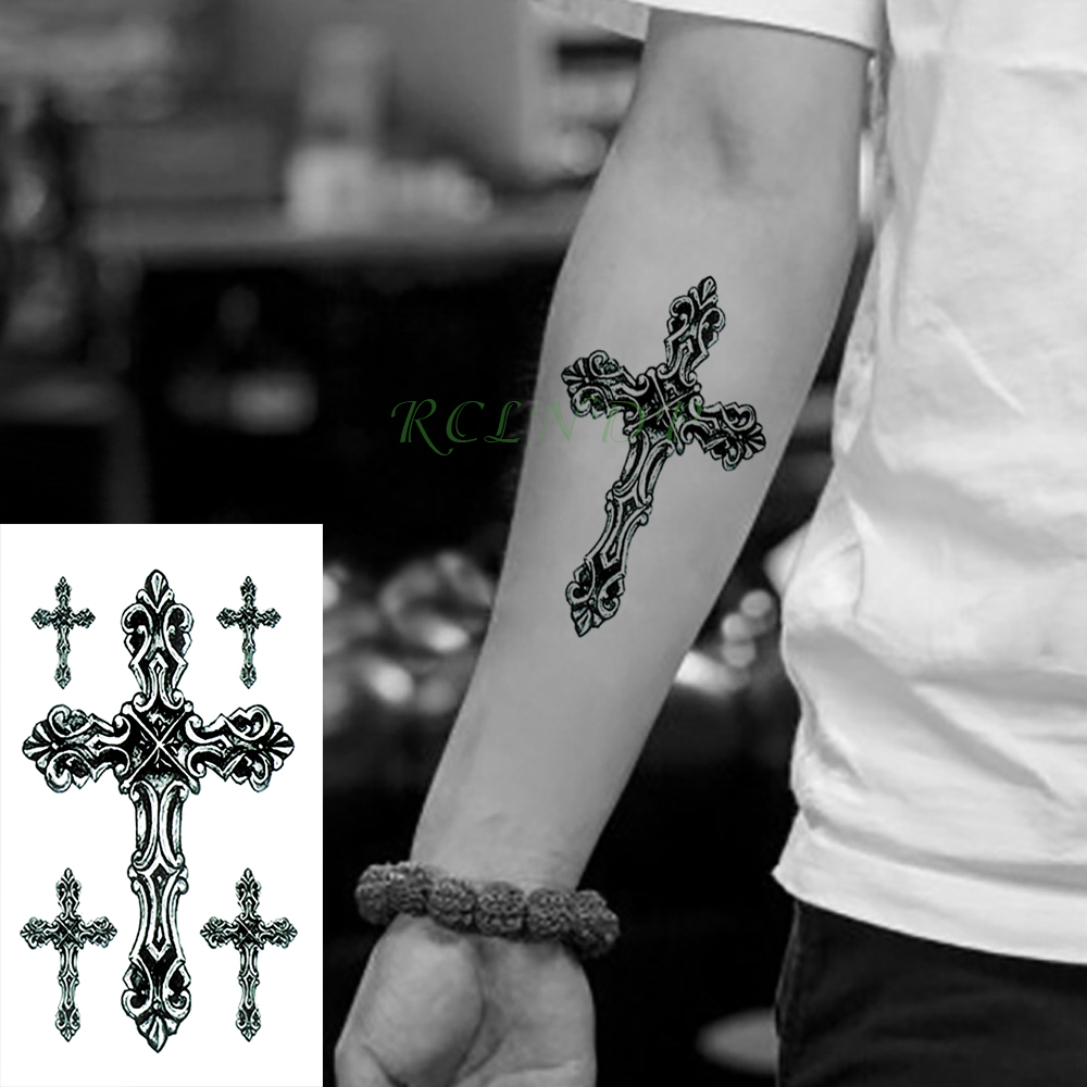 Waterproof Temporary Tattoo Stickers Cross Tribal Totem Fake Tatto Flash Tatoo Tatouage Neck Hand Back Foot For Girl Women Men