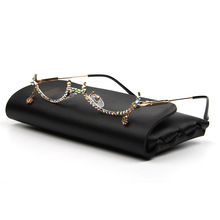 Fashion Eyeglasses Alloy Frame Water Drop lens less Chain Pendant Half Frame Wom