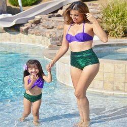 Hirigin Для женщин бандажный купальник бикини пуш-ап бюстгальтер Mermaid купальник в виде ракушки, одежда для плавания и купания, комплект из 2 пред... 3