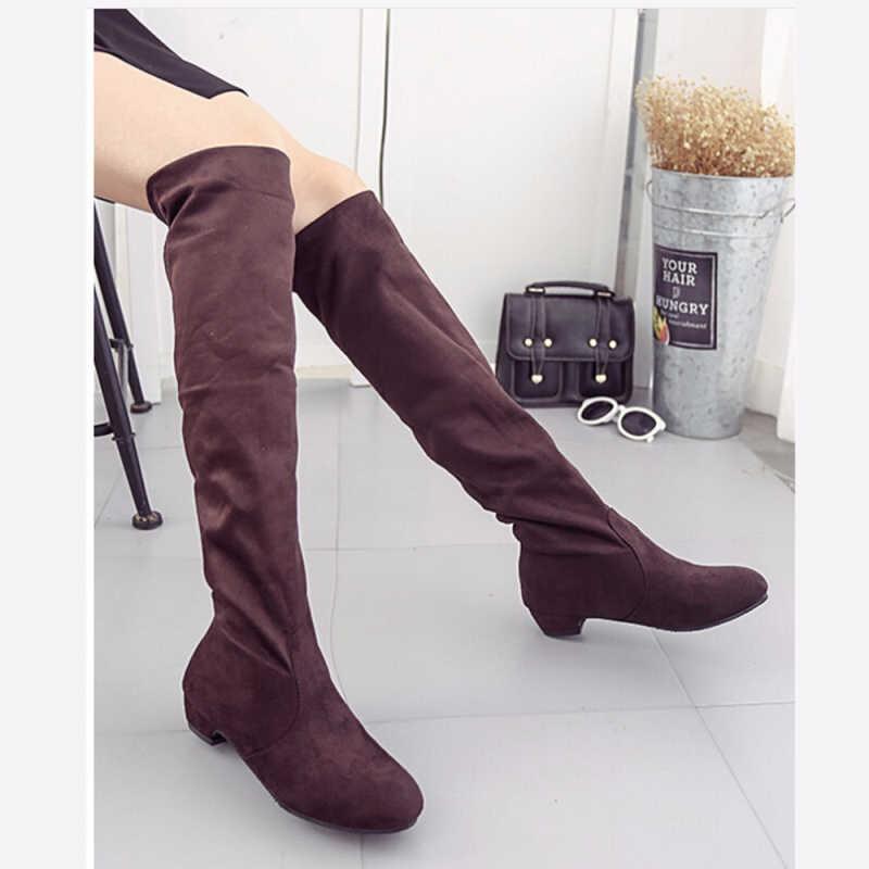 Kadın Yüksek Çizmeler Ayakkabı Moda Kadınlar Diz Çizmeler Üzerinde 2018 Yeni Sonbahar Kış Akın Botas Feminina Uyluk Yüksek çizmeler Bayanlar