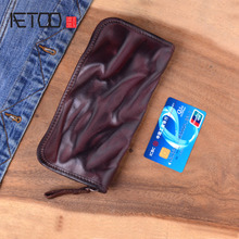 AETOO vintage Genuine Leather Long Wallet Clutch Bag Men Zipper Fold retro Handmade Vegetable Tanned Cowhide organizer Wallets handmade genuine leather wave wallets carving auspicious clouds bag purses women men long clutch vegetable tanned leather wallet