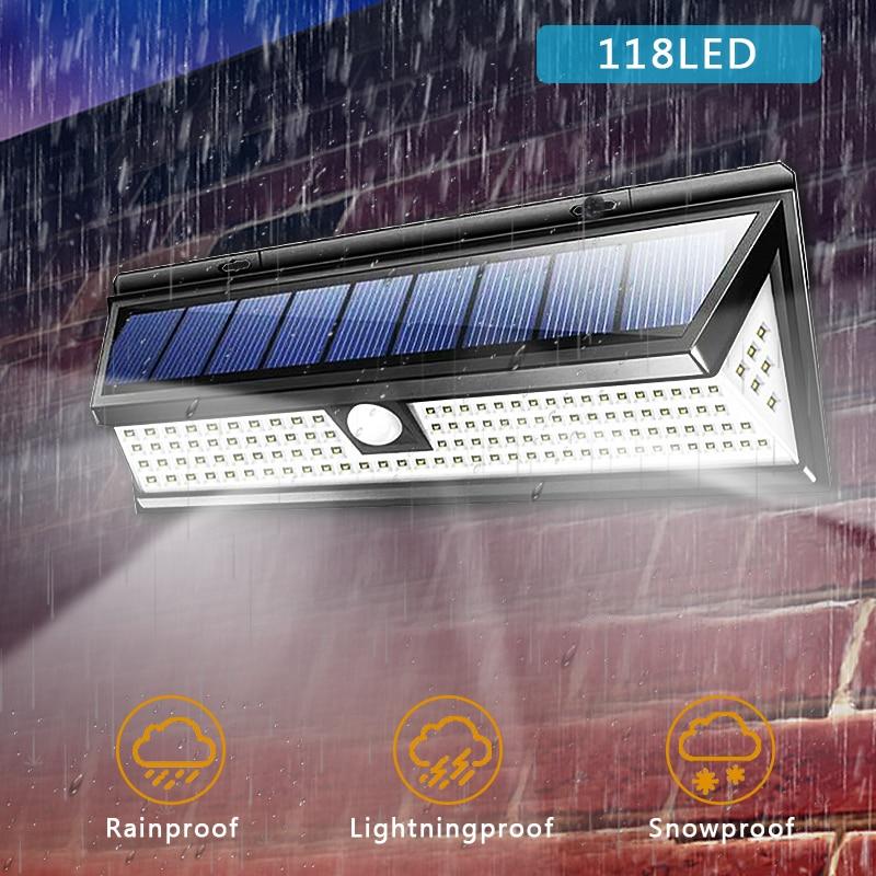 Solar Wall Light 100 118 LED PIR Motion Sensor Street Light IP65 Waterproof Emergency Security Garden Outdoor Light Decoration
