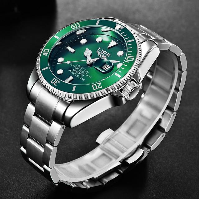 LIGE Top Brand Luxury Fashion Diver Watch Men 30ATM Waterproof Date Clock Sport Watches Mens Quartz Wristwatch Relogio Masculino 2