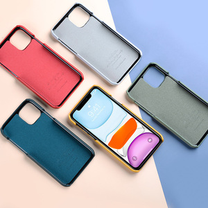 Image 3 - 2020 New 12 Color Genuine Leather Back Cover For iPhone 11 Pro Max 5.8 6.1 6.5 Cow Skin Phone Case Fashion Yellow Dark Green