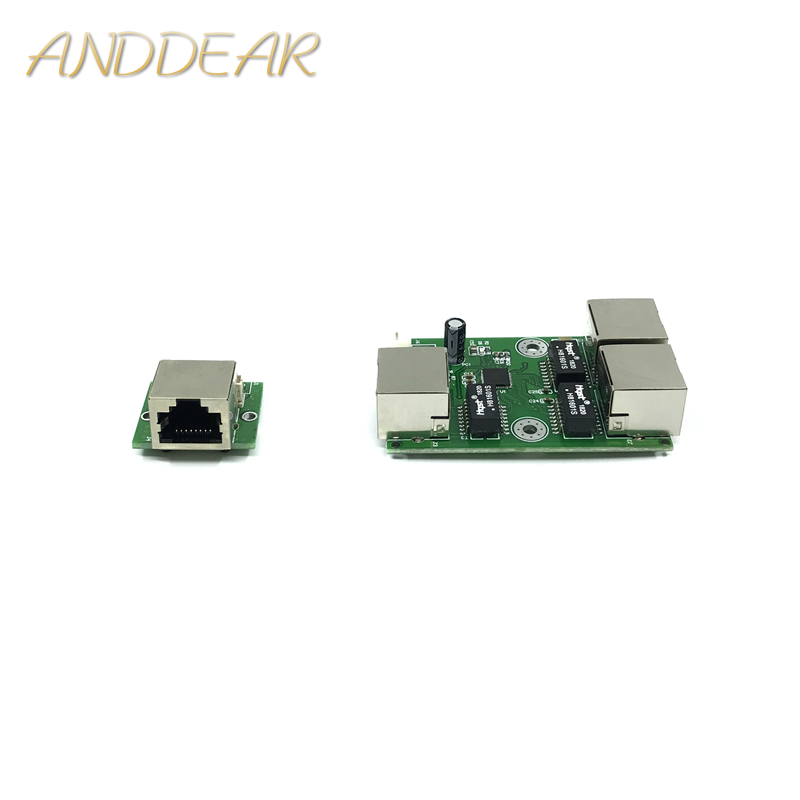 OEM Factory Direct Mini Fast 10 / 100mbps 3-port Ethernet 2 Rj45 1 * 8pin Head Port Network Lan Hub Switch Board Two-layer Pcb