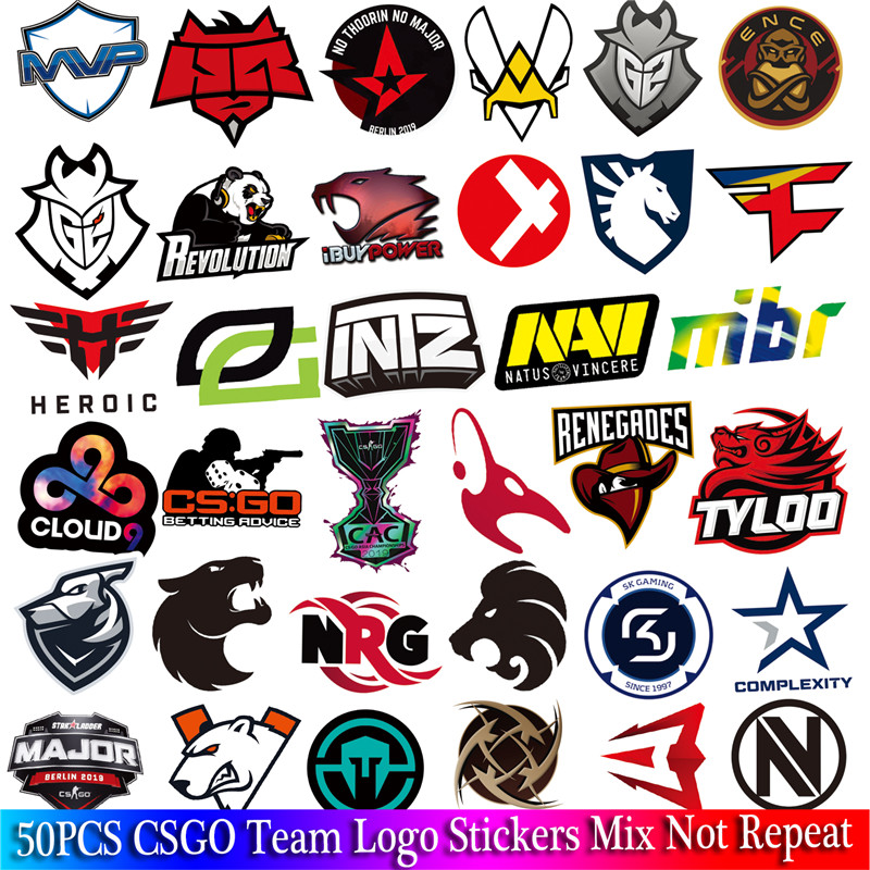 50 PCS Pack CS GO Logo Stickers Set For Boys Luggage Skateboard Laptop Mac Waterproof Game Stickers image