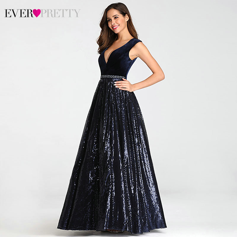 Image 3 - Vestidos De Festa Ever Pretty Elegant A Line V Neck Velvet Sparkly Beaded Long Formal Party Dresses 2019 Sexy Prom Dresses-in Prom Dresses from Weddings & Events