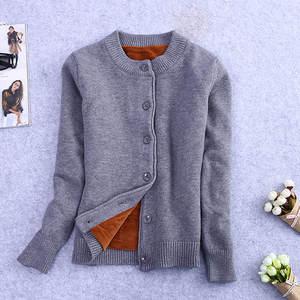 Image 1 - חורף בתוספת קטיפה סרוג קרדיגן נקבה קצר סוודר מעיל נשים ארוך שרוול Jumper סוודרים חם קרדיגן נשים חולצות C3921