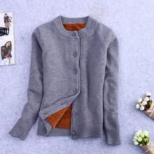 Gilet tricoté en velours pour femme, veste courte à manches longues, pull chaud, pull chaud, vêtement dhiver, C3921