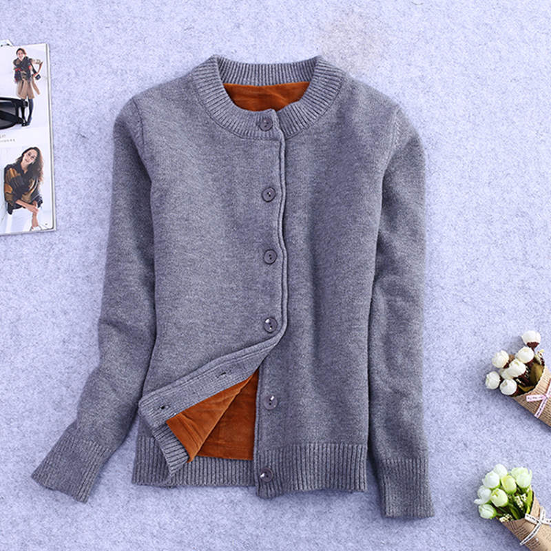 Winter Plus Velvet Knitted Cardigan Female Short Sweater Jacket Women Long Sleeve Jumper Sweaters Warm Cardigan Women Tops C3921