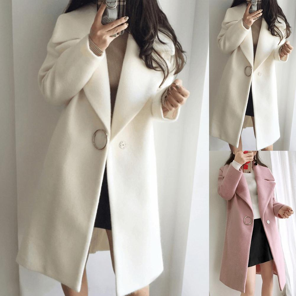 Loose Warm Cotton + Spandex Long Winter Coat Turn-down Collar Adjustable Wool Coats Women Office Work Wear Elegant Manteau Femme