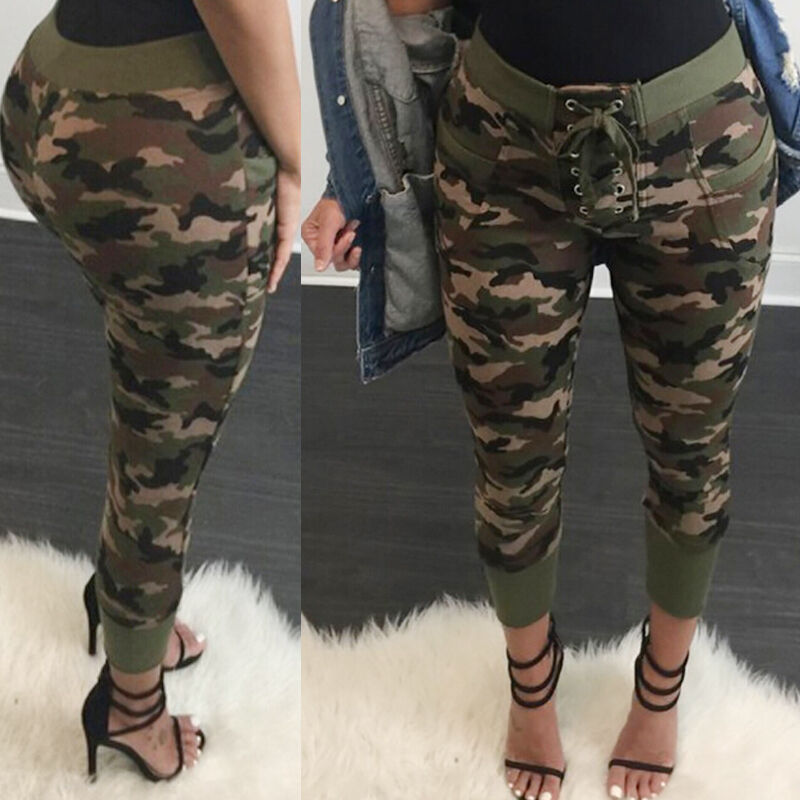 2020 HOT Fashion Women Pencil Stretch Casual Denim Drawstring Skinny Pants High Waist Camouflage Trousers Bandage Trousers
