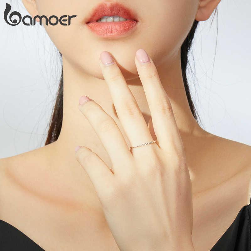 Anel de prata refinada 925 bamoer, joia torcida minimalista para mulheres, presente de joia hipoalérgica fina scr640