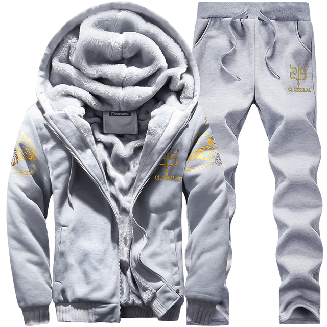2020 Winter Thick Men Sports Suit Tracksuit Hooded Sportswear Zipper Cardigan Hooded+Elastic Pants Casual Men Fleece Warm Sets 3