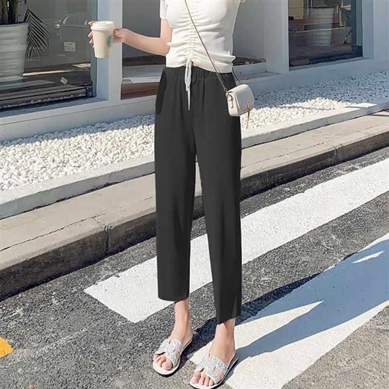 Шифоновые свободные женские брюки повседневные корейские стильные Осенние эластичные широкие брюки тонкие однотонные укороченные брюки Харадзюку
