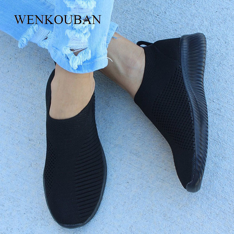 Women Shoes Knitting Sock Sneakers Women Spring Summer Slip On Flat Shoes Women Plus Size Loafers Flats Walking Sapato Feminino