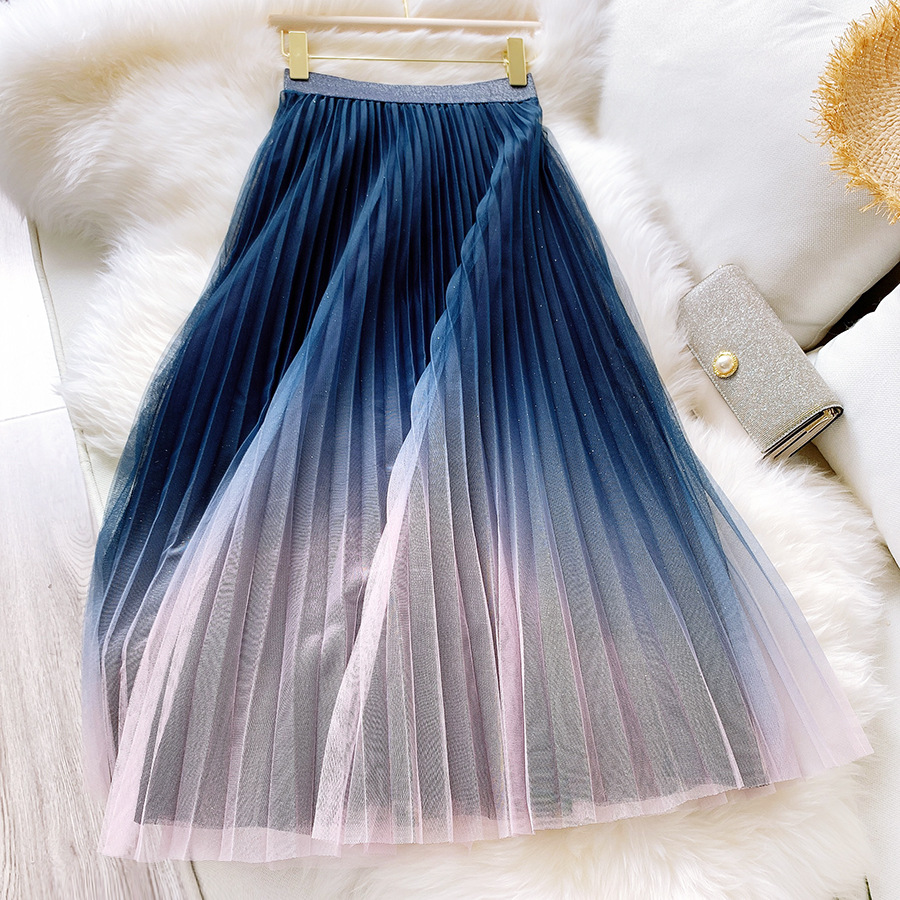 2020 Good Quality Women High Waist Pleated Long Skirt Bohemian Two Layer Gradient Color Summer Mesh Skirt Faldas Jupe Femme Saia