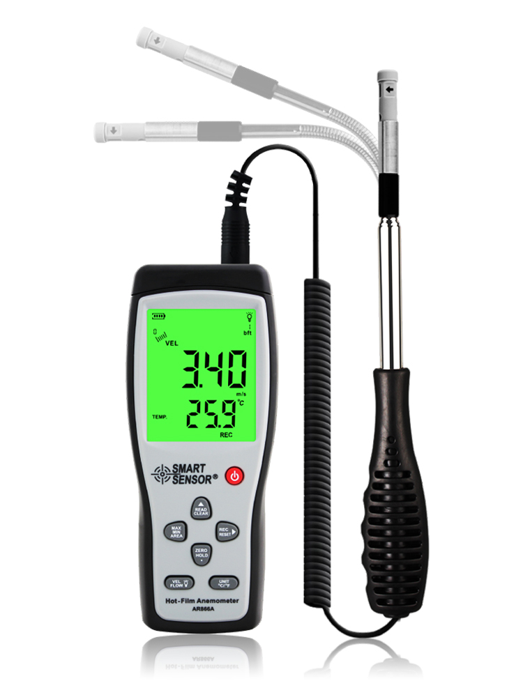 Capteur intelligent AR866A thermo-anémomètre à fil chaud compteur de vitesse de débit d'air 0 ~ 9999m3/min anémomètre thermique compteur de vitesse du vent avec USB