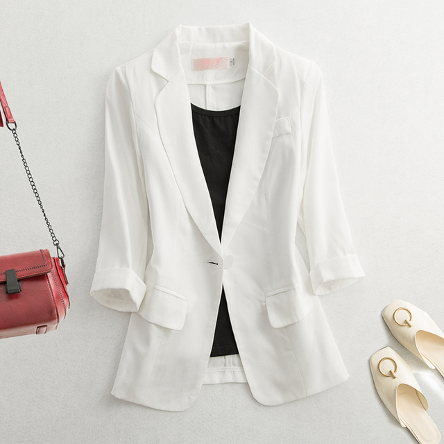 2021 Early Autumn Fashion Women's Coat White Black Blazers Notched Pockets Office Lady Women Short Blazers And Jackets long slee 3
