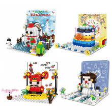 2019 New City Series The Winter Christmas Holiday Snowman Princess Model Building Blocks Set Classic Toys For Children