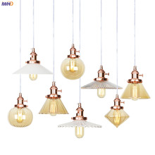 IWHD Rose Gold Glass LED Pendant Lights Fixtures Knob Switch Bedroom Living Room Kitchen Nordic Modern Hanging Light Lamp Edison