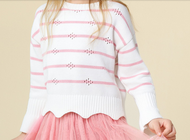 Childrenswear Fashion GIRL'S Sweater Crew Neck Long Sleeve Autumn And Winter New Style Petal Hem Stripes Knitted Pullover Cotton